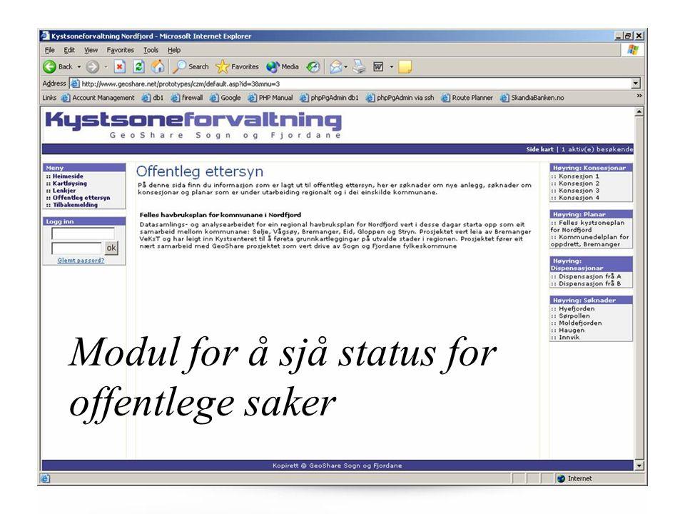 Modul for å sjå status for offentlege saker
