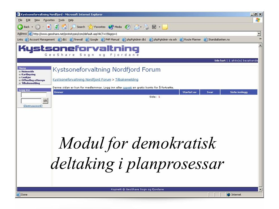 Modul for demokratisk deltaking i planprosessar