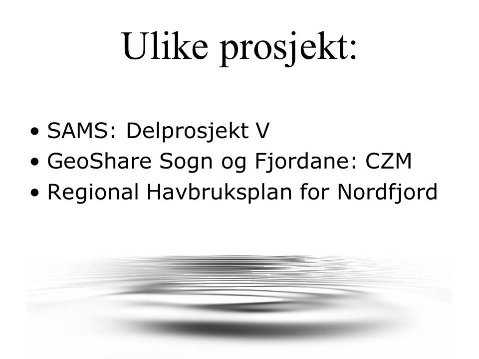 Ulike prosjekt: SAMS: Delprosjekt V GeoShare Sogn og Fjordane: CZM Regional Havbruksplan for Nordfjord