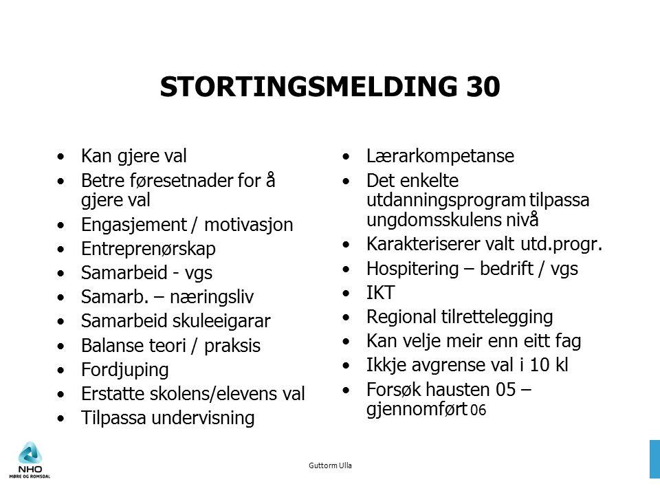 Guttorm Ulla STORTINGSMELDING 30 Kan gjere val Betre føresetnader for å gjere val Engasjement / motivasjon Entreprenørskap Samarbeid - vgs Samarb. – n