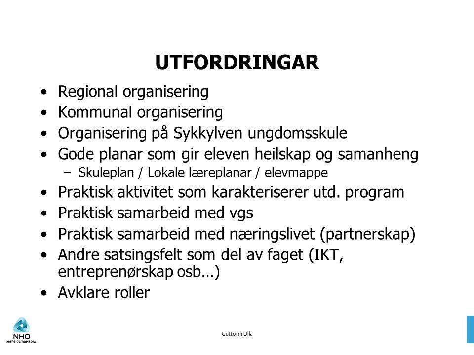 Guttorm Ulla UTFORDRINGAR Regional organisering Kommunal organisering Organisering på Sykkylven ungdomsskule Gode planar som gir eleven heilskap og sa