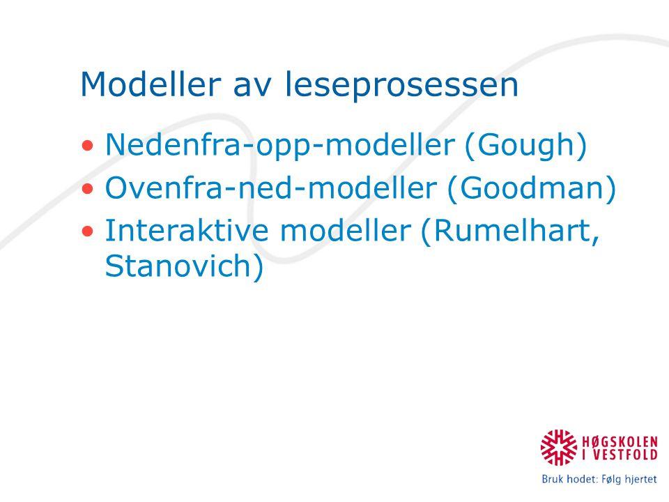Modeller av leseprosessen Nedenfra-opp-modeller (Gough) Ovenfra-ned-modeller (Goodman) Interaktive modeller (Rumelhart, Stanovich)