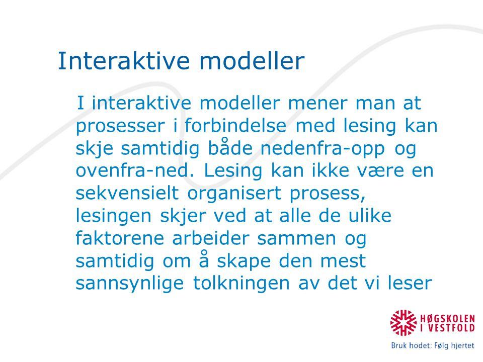 Interaktive modeller I interaktive modeller mener man at prosesser i forbindelse med lesing kan skje samtidig både nedenfra-opp og ovenfra-ned. Lesing