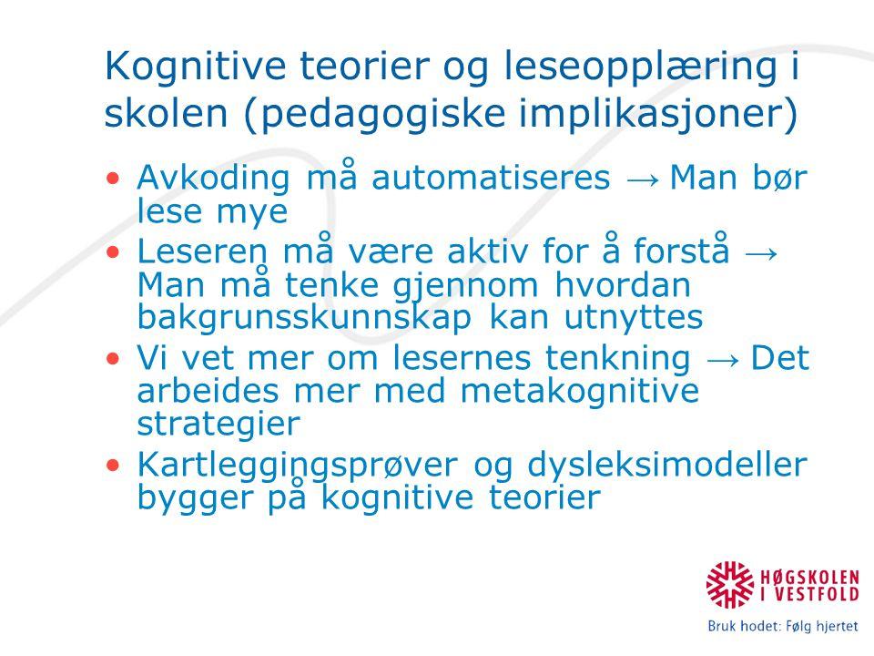 Kognitive teorier og leseopplæring i skolen (pedagogiske implikasjoner) Avkoding må automatiseres → Man bør lese mye Leseren må være aktiv for å forst