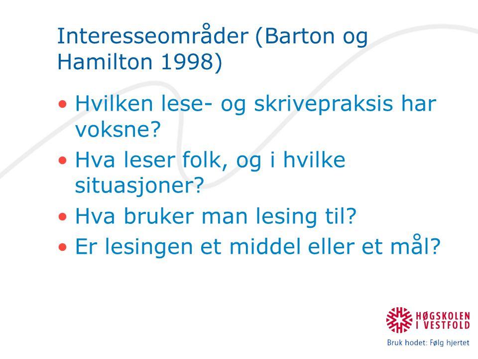 Interesseområder (Barton og Hamilton 1998) Hvilken lese- og skrivepraksis har voksne? Hva leser folk, og i hvilke situasjoner? Hva bruker man lesing t
