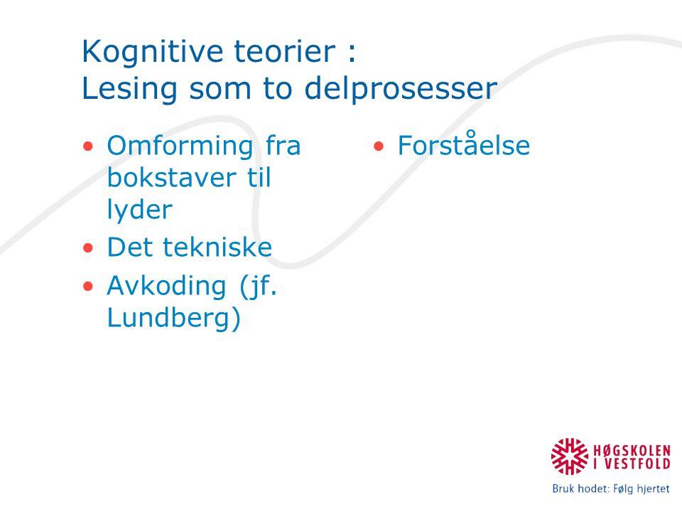 Kognitive teorier : Lesing som to delprosesser Omforming fra bokstaver til lyder Det tekniske Avkoding (jf. Lundberg) Forståelse