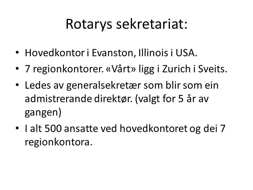 Rotarys sekretariat: Hovedkontor i Evanston, Illinois i USA. 7 regionkontorer. «Vårt» ligg i Zurich i Sveits. Ledes av generalsekretær som blir som ei