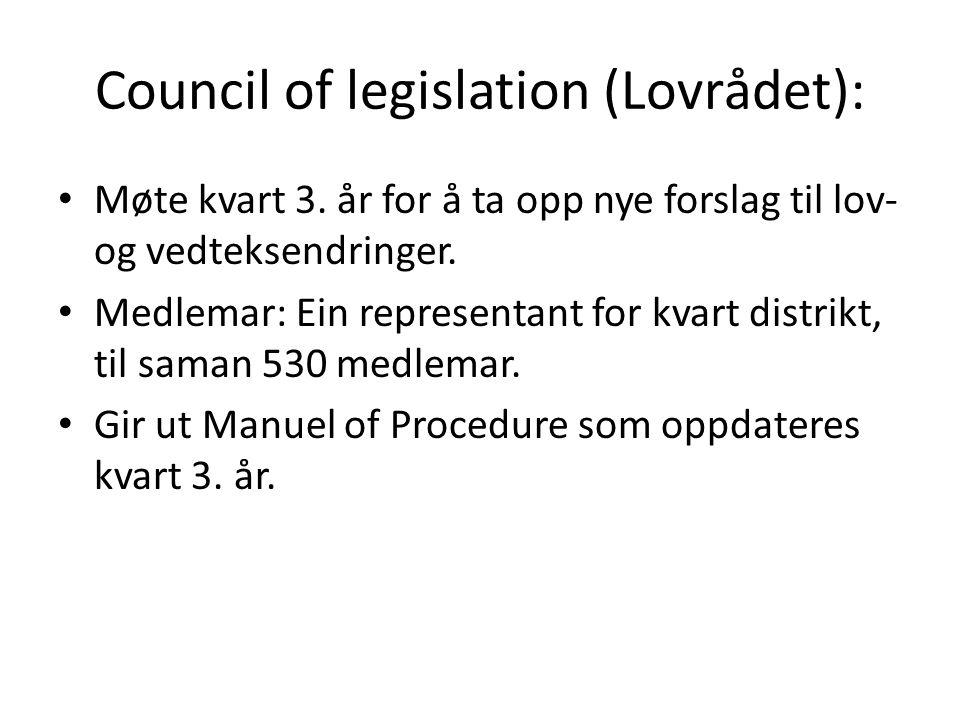 Council of legislation (Lovrådet): Møte kvart 3. år for å ta opp nye forslag til lov- og vedteksendringer. Medlemar: Ein representant for kvart distri