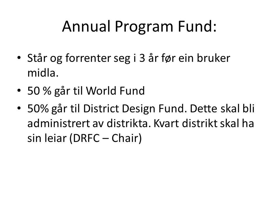 Annual Program Fund: Står og forrenter seg i 3 år før ein bruker midla. 50 % går til World Fund 50% går til District Design Fund. Dette skal bli admin