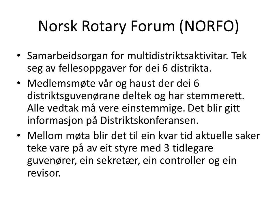 Norsk Rotary Forum (NORFO) Samarbeidsorgan for multidistriktsaktivitar. Tek seg av fellesoppgaver for dei 6 distrikta. Medlemsmøte vår og haust der de