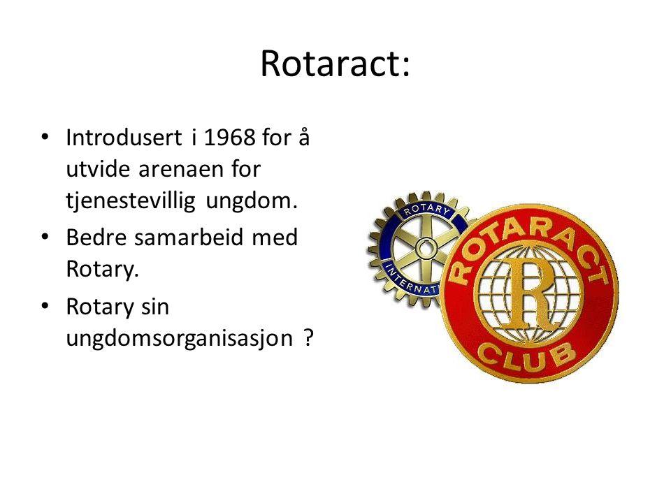 Rotaract: Introdusert i 1968 for å utvide arenaen for tjenestevillig ungdom. Bedre samarbeid med Rotary. Rotary sin ungdomsorganisasjon ?