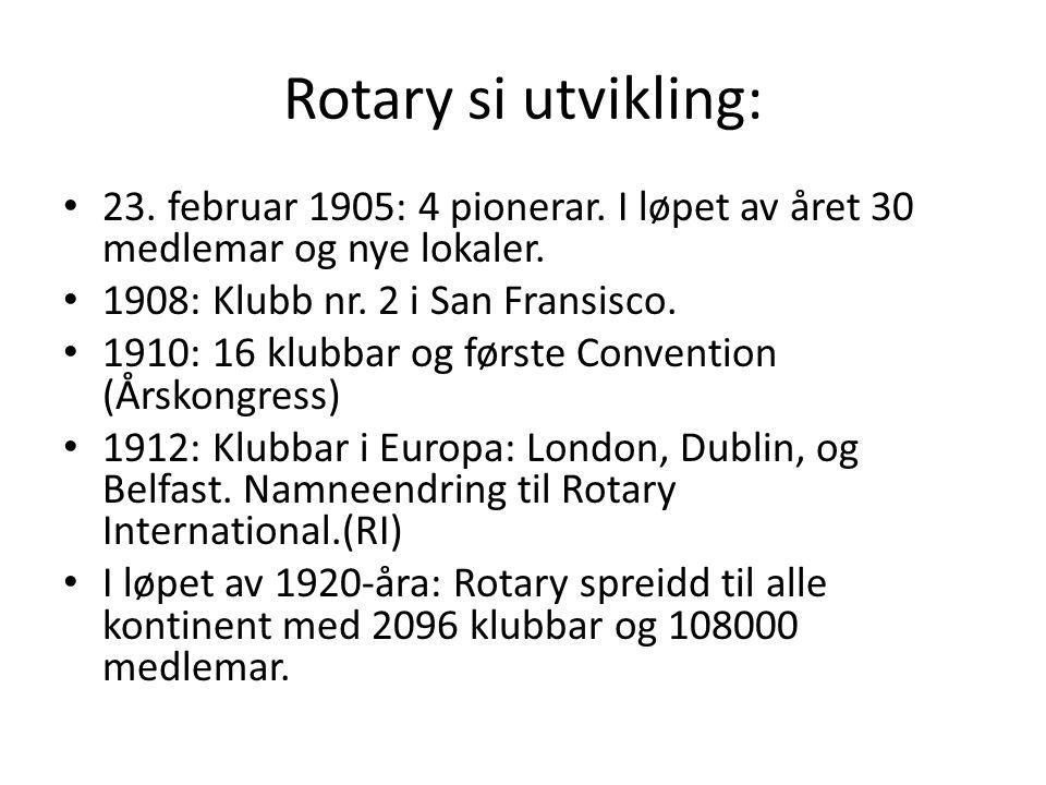 Rotary si utvikling: 23. februar 1905: 4 pionerar. I løpet av året 30 medlemar og nye lokaler. 1908: Klubb nr. 2 i San Fransisco. 1910: 16 klubbar og
