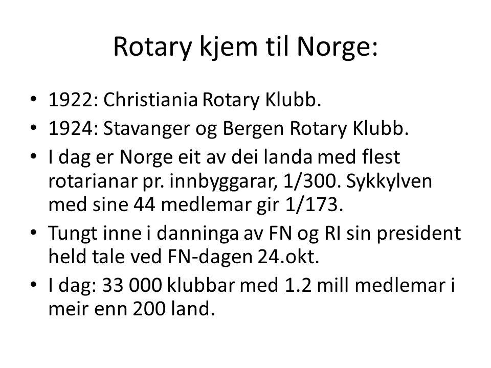 Rotary kjem til Norge: 1922: Christiania Rotary Klubb. 1924: Stavanger og Bergen Rotary Klubb. I dag er Norge eit av dei landa med flest rotarianar pr