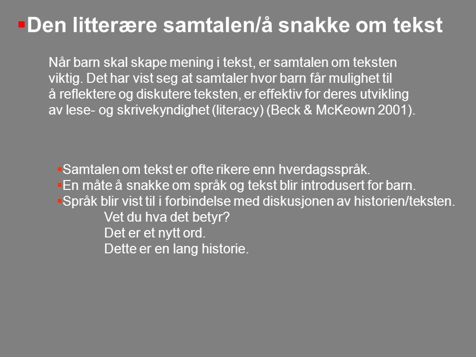 Samtale om tekst med de eldste barna Barna i vår gruppe har forelsket seg i en bok som heter Drømmereise av Arne Samuelsen (1989).