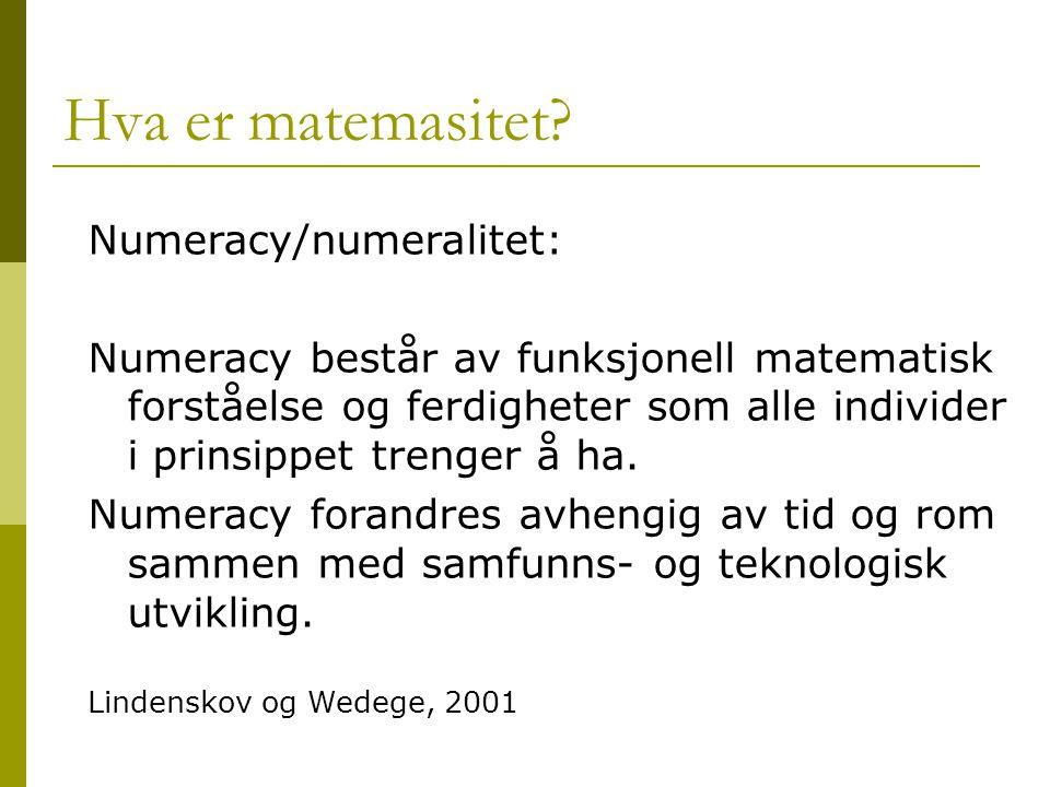 Hva er matemasitet? Numeracy/numeralitet: Numeracy består av funksjonell matematisk forståelse og ferdigheter som alle individer i prinsippet trenger