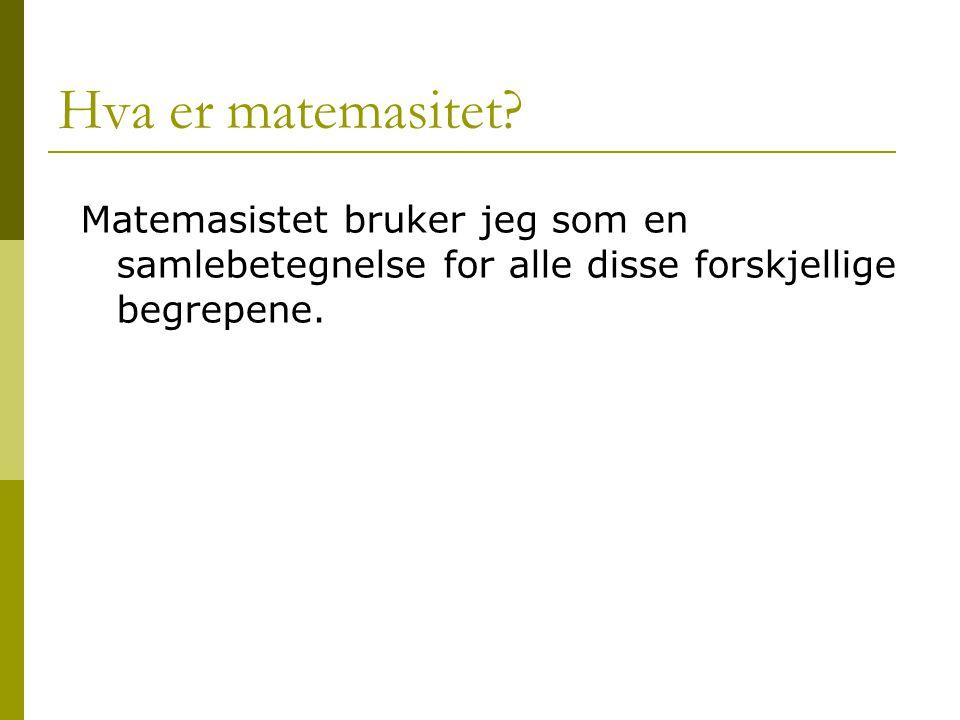 Hva er matemasitet? Matemasistet bruker jeg som en samlebetegnelse for alle disse forskjellige begrepene.