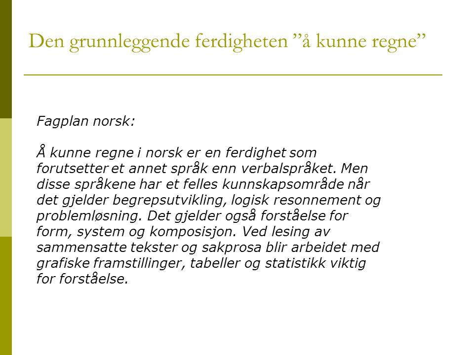 """Den grunnleggende ferdigheten """"å kunne regne"""" Fagplan norsk: Å kunne regne i norsk er en ferdighet som forutsetter et annet språk enn verbalspråket. M"""