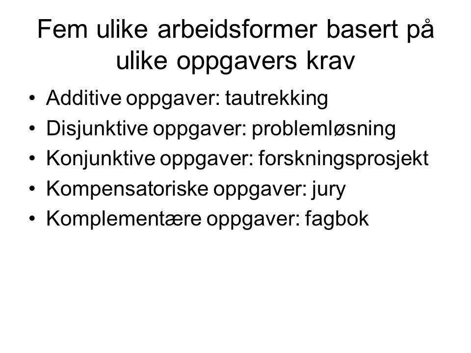 Fem ulike arbeidsformer basert på ulike oppgavers krav Additive oppgaver: tautrekking Disjunktive oppgaver: problemløsning Konjunktive oppgaver: forsk