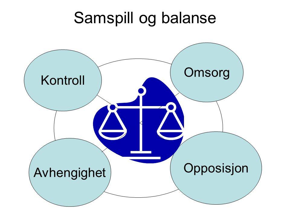Samspill og balanse Kontroll Omsorg Avhengighet Opposisjon