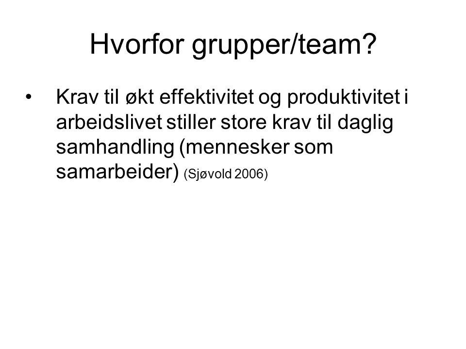 Hvorfor grupper/team? Krav til økt effektivitet og produktivitet i arbeidslivet stiller store krav til daglig samhandling (mennesker som samarbeider)