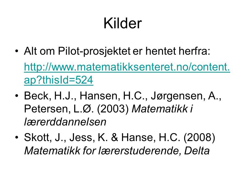 Kilder Alt om Pilot-prosjektet er hentet herfra: http://www.matematikksenteret.no/content. ap?thisId=524 Beck, H.J., Hansen, H.C., Jørgensen, A., Pete