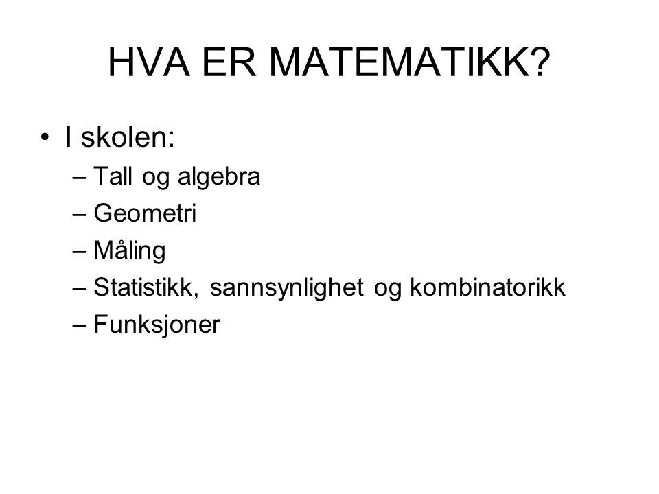 HVA ER MATEMATIKK? I skolen: –Tall og algebra –Geometri –Måling –Statistikk, sannsynlighet og kombinatorikk –Funksjoner