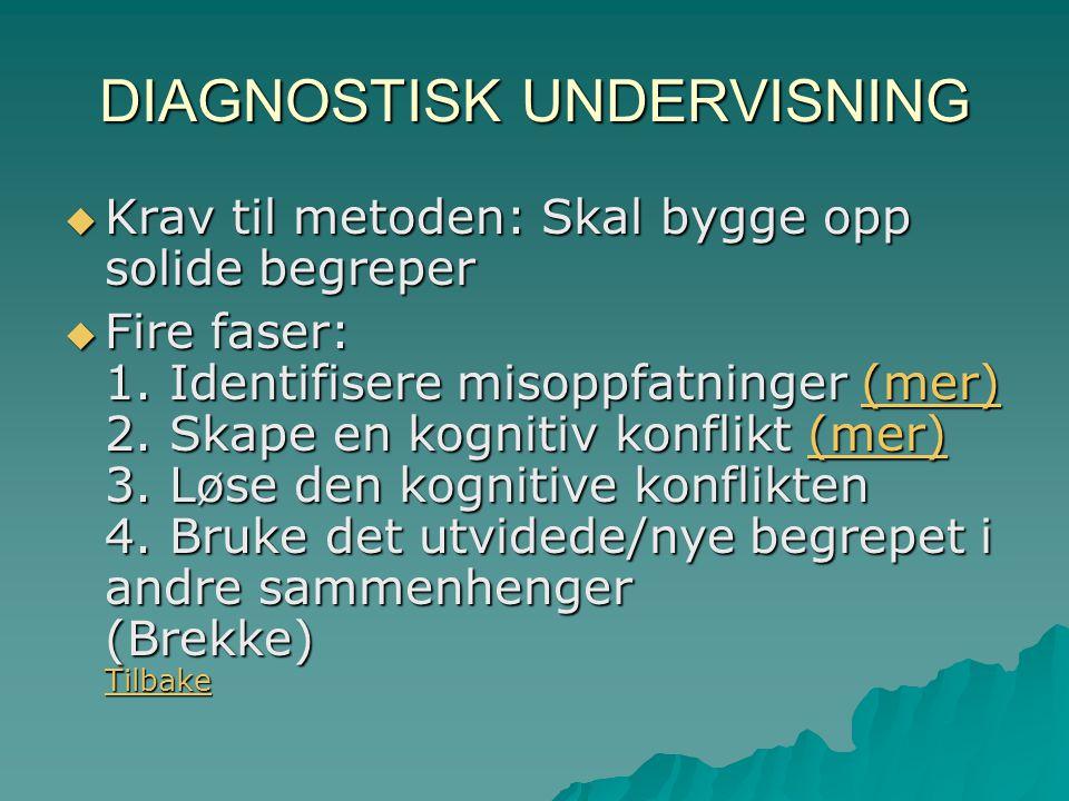 DIAGNOSTISK UNDERVISNING  Krav til metoden: Skal bygge opp solide begreper  Fire faser: 1.