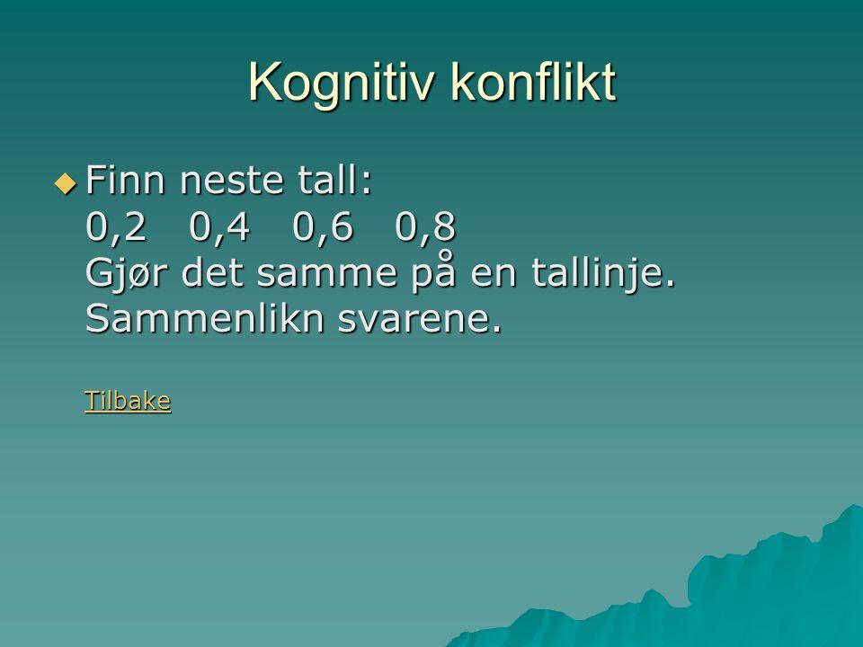 Kognitiv konflikt  Finn neste tall: 0,2 0,4 0,6 0,8 Gjør det samme på en tallinje.