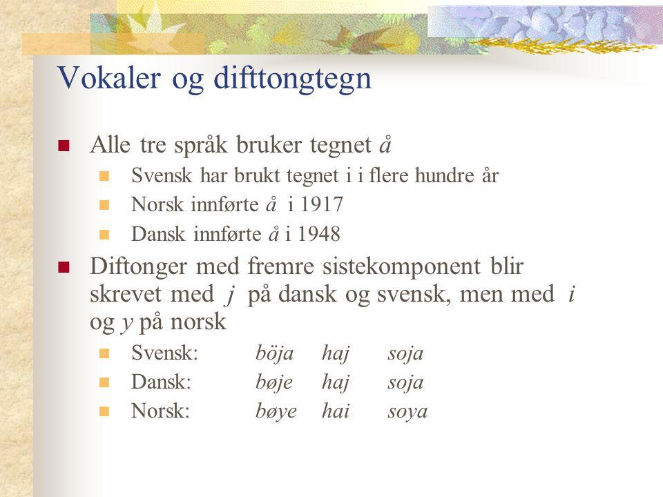Vokaler og difttongtegn Alle tre språk bruker tegnet å Svensk har brukt tegnet i i flere hundre år Norsk innførte å i 1917 Dansk innførte å i 1948 Dif