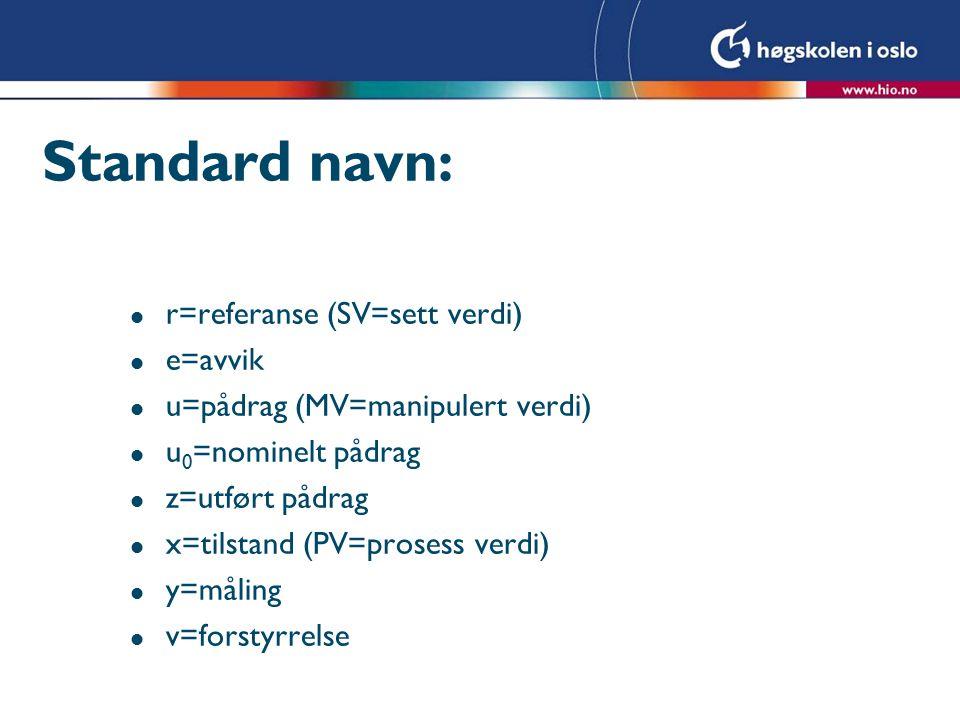 Standard navn: l r=referanse (SV=sett verdi) l e=avvik l u=pådrag (MV=manipulert verdi) l u 0 =nominelt pådrag l z=utført pådrag l x=tilstand (PV=prosess verdi) l y=måling l v=forstyrrelse