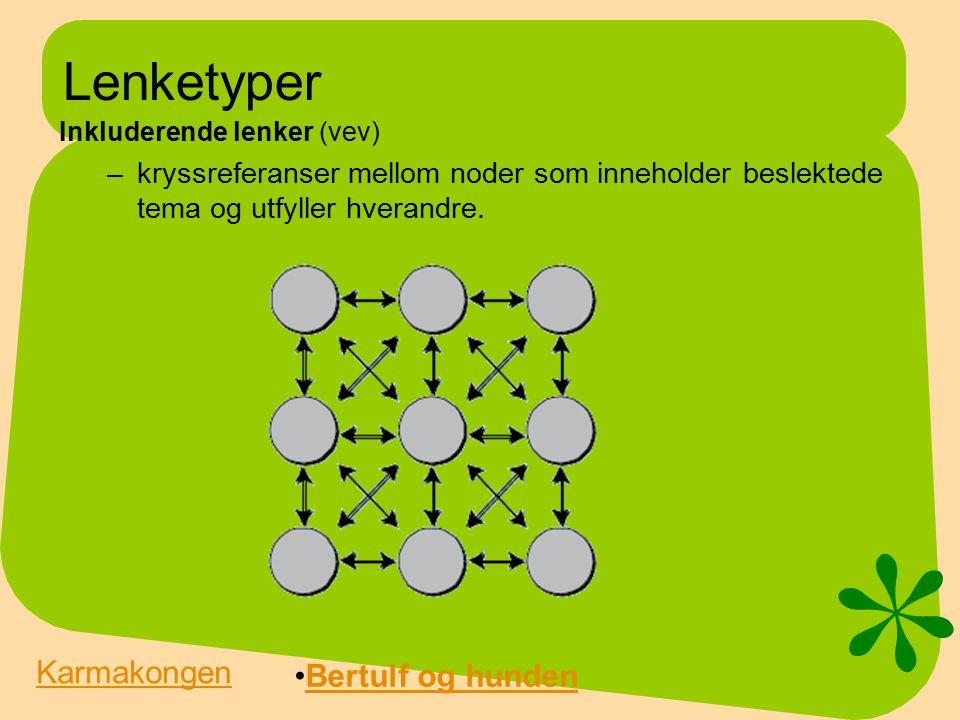 Lenketyper Inkluderende lenker (vev) –kryssreferanser mellom noder som inneholder beslektede tema og utfyller hverandre.