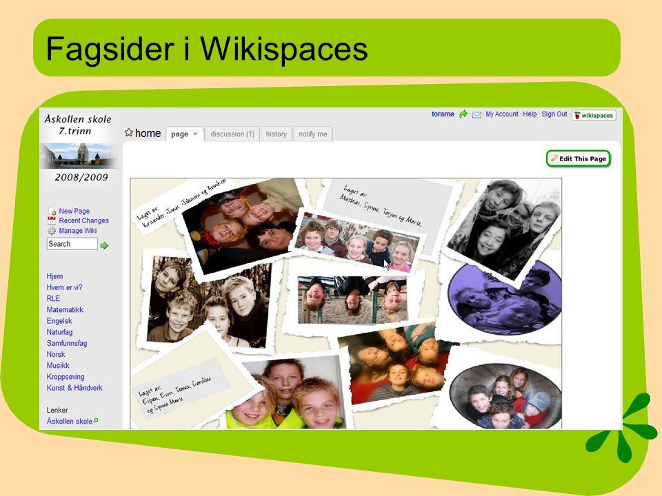 Fagsider i Wikispaces