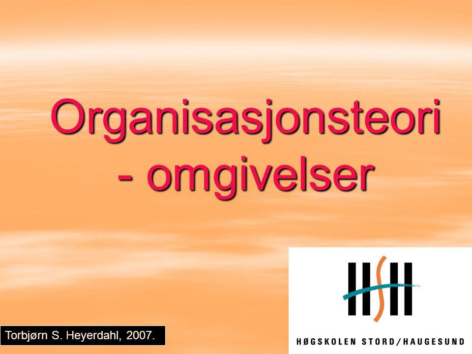 Organisasjonsteori - omgivelser Torbjørn S. Heyerdahl, 2007.