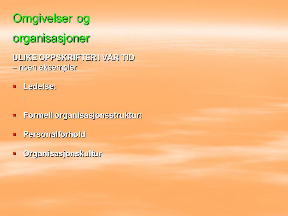 Omgivelser og organisasjoner ULIKE OPPSKRIFTER I VÅR TID – noen eksempler  Ledelse:.  Formell organisasjonsstruktur:  Personalforhold  Organisasjo