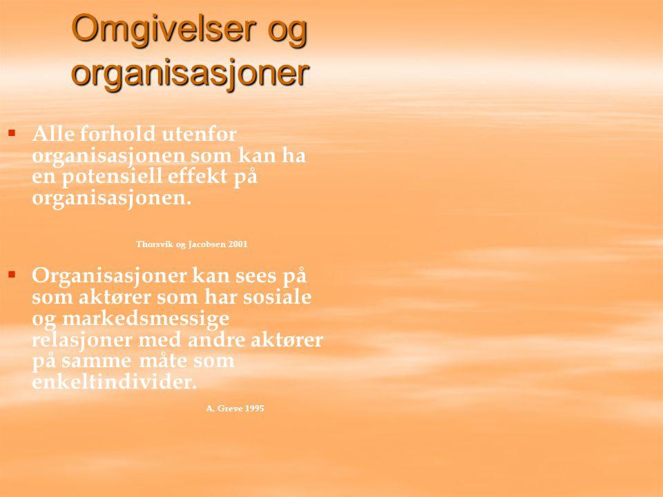 Omgivelser og organisasjoner   Alle forhold utenfor organisasjonen som kan ha en potensiell effekt på organisasjonen. Thorsvik og Jacobsen 2001  
