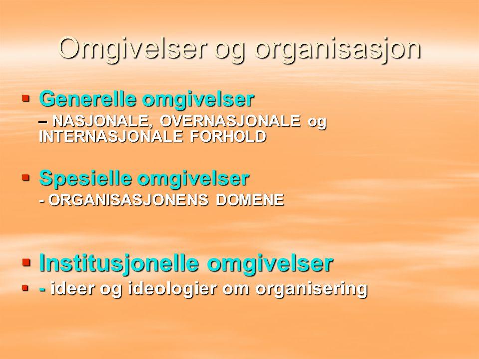  Generelle omgivelser – NASJONALE, OVERNASJONALE og INTERNASJONALE FORHOLD  Spesielle omgivelser - ORGANISASJONENS DOMENE  Institusjonelle omgivels