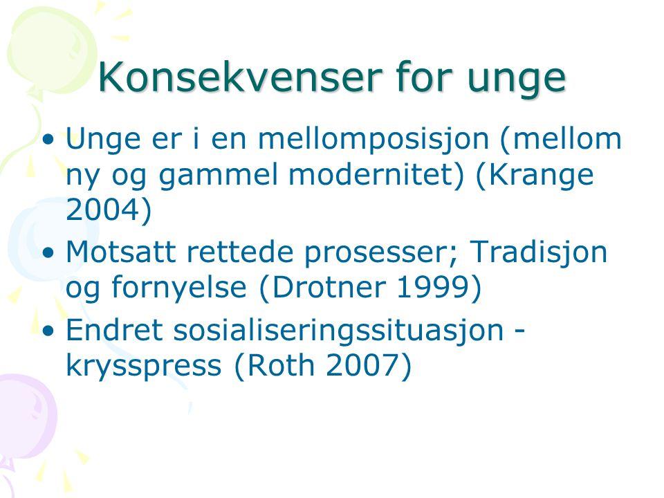 Konsekvenser for unge Unge er i en mellomposisjon (mellom ny og gammel modernitet) (Krange 2004) Motsatt rettede prosesser; Tradisjon og fornyelse (Drotner 1999) Endret sosialiseringssituasjon - krysspress (Roth 2007)