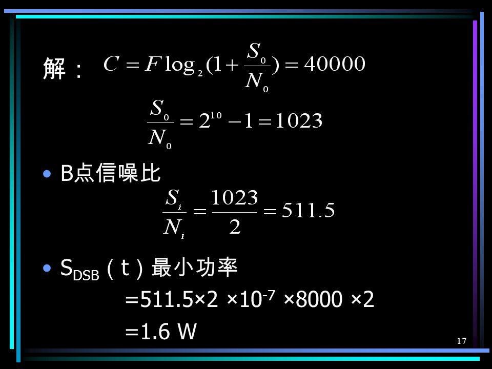 16 例 6 已知双边带调制系统的等效模型 如图示: A B C 其中, LPF 的截止频率为 4000Hz ,噪声 N ( t ) 为高斯白噪声,其双边功率谱密度 n 0 /2=2×10 -7 W/Hz ,若要求从 A 到 C 的通信信 道容量不小于 40000bit/s ,试求 B 点信号 S
