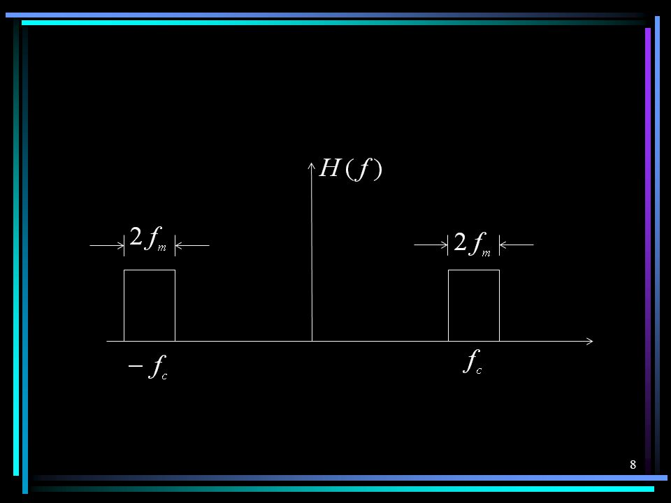 7 四、 X 1 =m(t)+COS ω c t X 2 =-m(t)+COS ω c t Y 1 =aX 1 +bX 1 2 =a[m ( t ) + cosω c t ]+ b [ m(t)+ cosω c t] 2 Y 2 =aX 2 +bX 2 2 =a [ -m ( t ) + cosω c t] + b [ -m(t)+ cosω c t] 2 Y=Y 1 -Y 2 = 2 am ( t )+4 bm ( t )cosω c t 只要上式的第一项与第二项的频谱不发生混叠 ,即 fc ≥ 2fm 即可产生抑制载波的双边带调 幅信号。第二项即是。