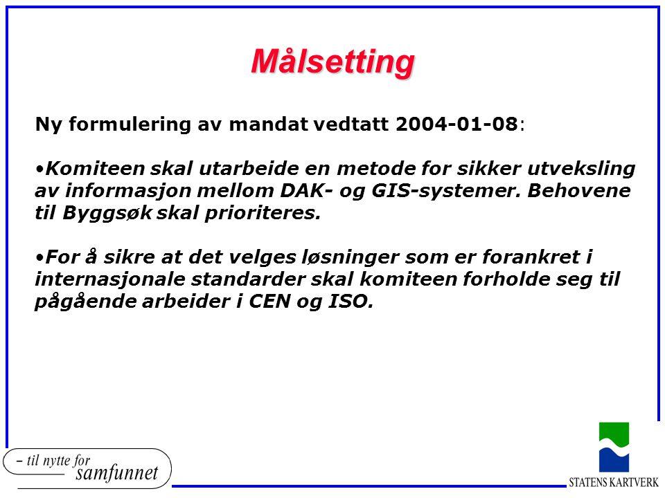 Målsetting Ny formulering av mandat vedtatt 2004-01-08: Komiteen skal utarbeide en metode for sikker utveksling av informasjon mellom DAK- og GIS-syst