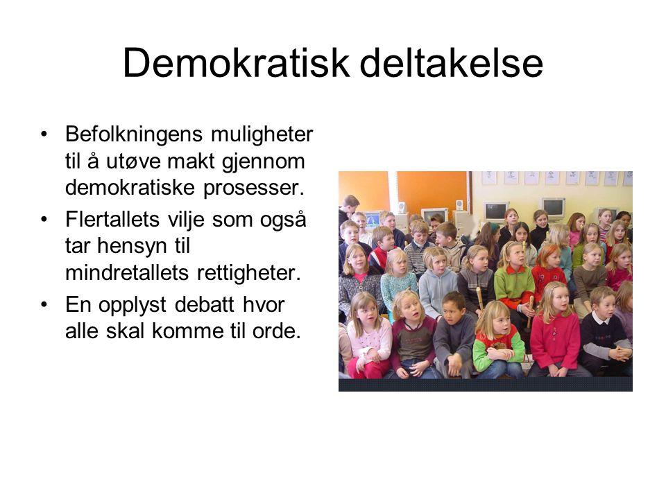Demokratisk deltakelse Befolkningens muligheter til å utøve makt gjennom demokratiske prosesser.