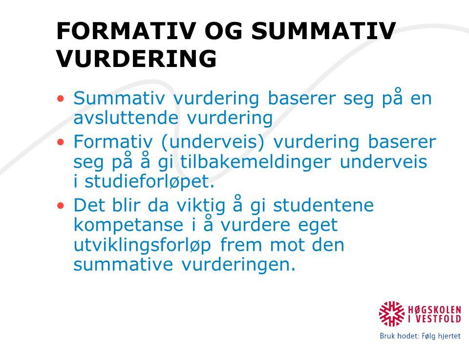 FORMATIV OG SUMMATIV VURDERING Summativ vurdering baserer seg på en avsluttende vurdering Formativ (underveis) vurdering baserer seg på å gi tilbakeme
