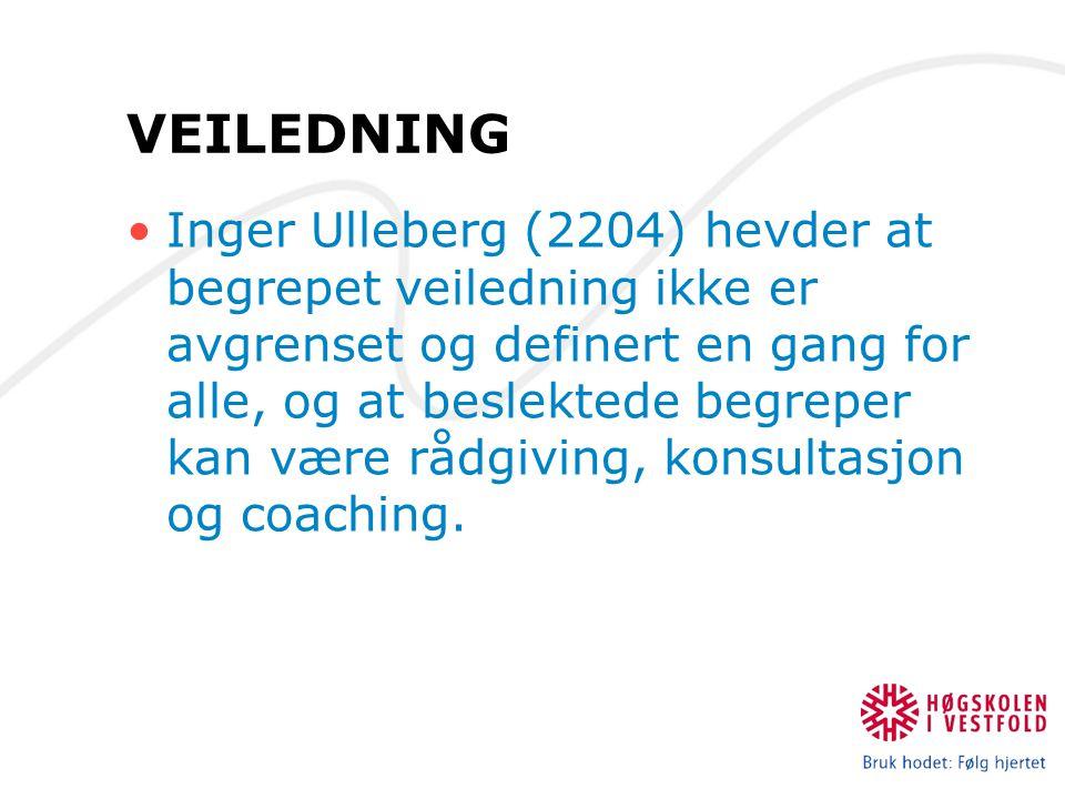 VEILEDNING Inger Ulleberg (2204) hevder at begrepet veiledning ikke er avgrenset og definert en gang for alle, og at beslektede begreper kan være rådg