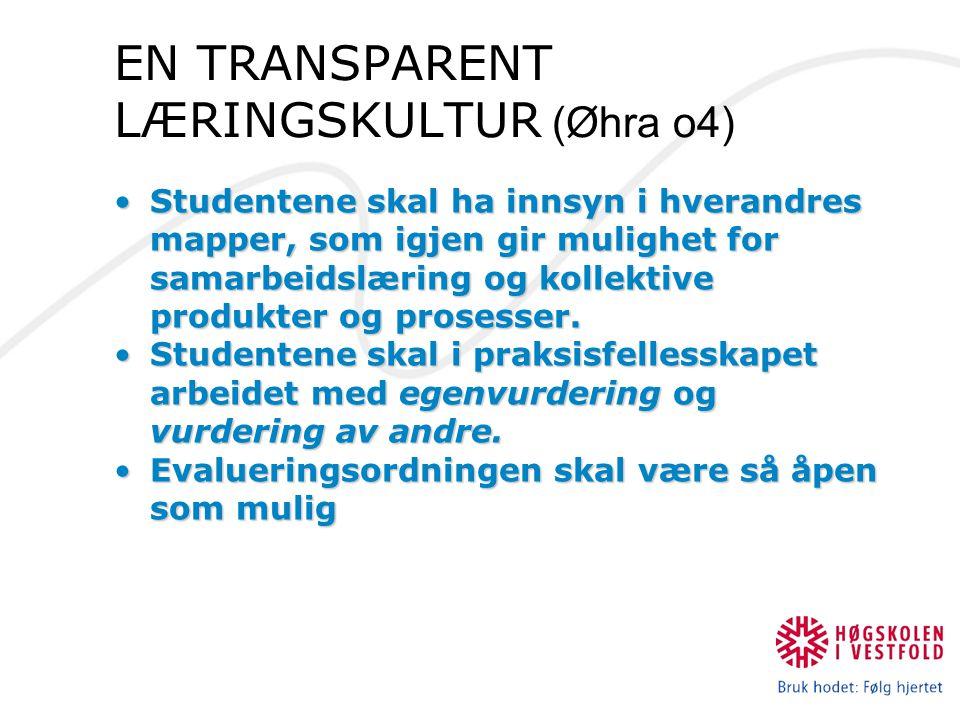 EN TRANSPARENT LÆRINGSKULTUR (Øhra o4) Studentene skal ha innsyn i hverandres mapper, som igjen gir mulighet for samarbeidslæring og kollektive produk