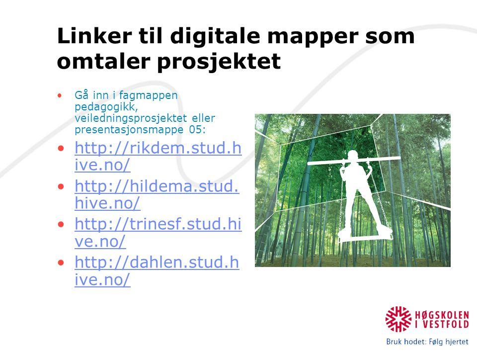 Linker til digitale mapper som omtaler prosjektet Gå inn i fagmappen pedagogikk, veiledningsprosjektet eller presentasjonsmappe 05: http://rikdem.stud