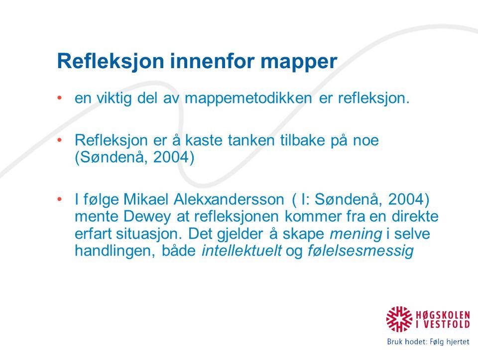 Refleksjon innenfor mapper en viktig del av mappemetodikken er refleksjon. Refleksjon er å kaste tanken tilbake på noe (Søndenå, 2004) I følge Mikael