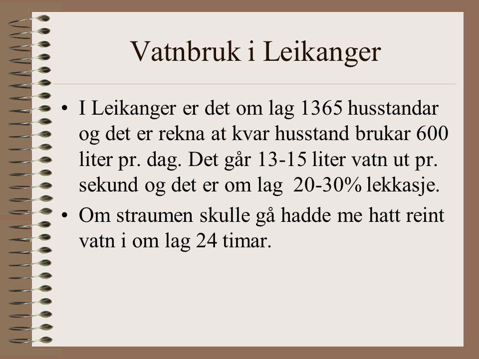 Vatnbruk i Leikanger I Leikanger er det om lag 1365 husstandar og det er rekna at kvar husstand brukar 600 liter pr.