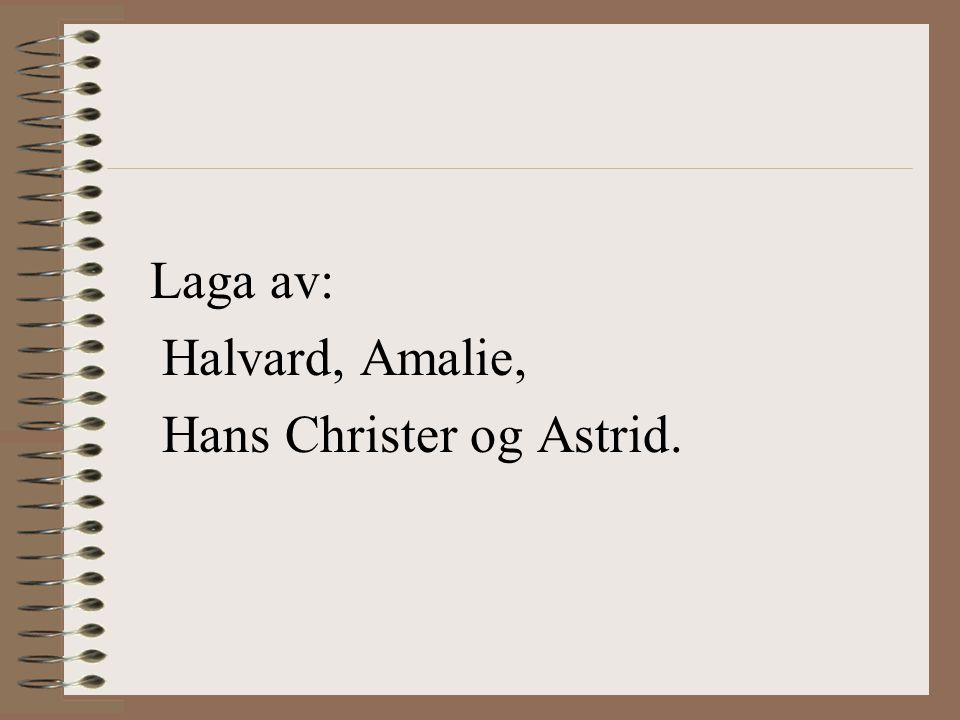 Laga av: Halvard, Amalie, Hans Christer og Astrid.