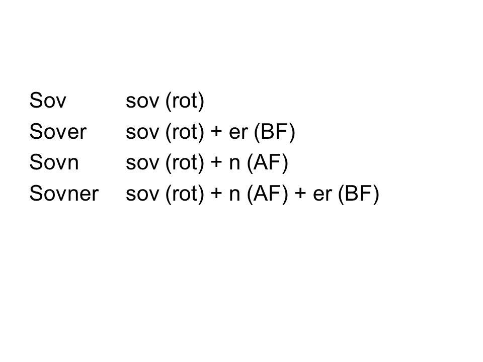 Sovsov (rot) Soversov (rot) + er (BF) Sovnsov (rot) + n (AF) Sovner sov (rot) + n (AF) + er (BF)