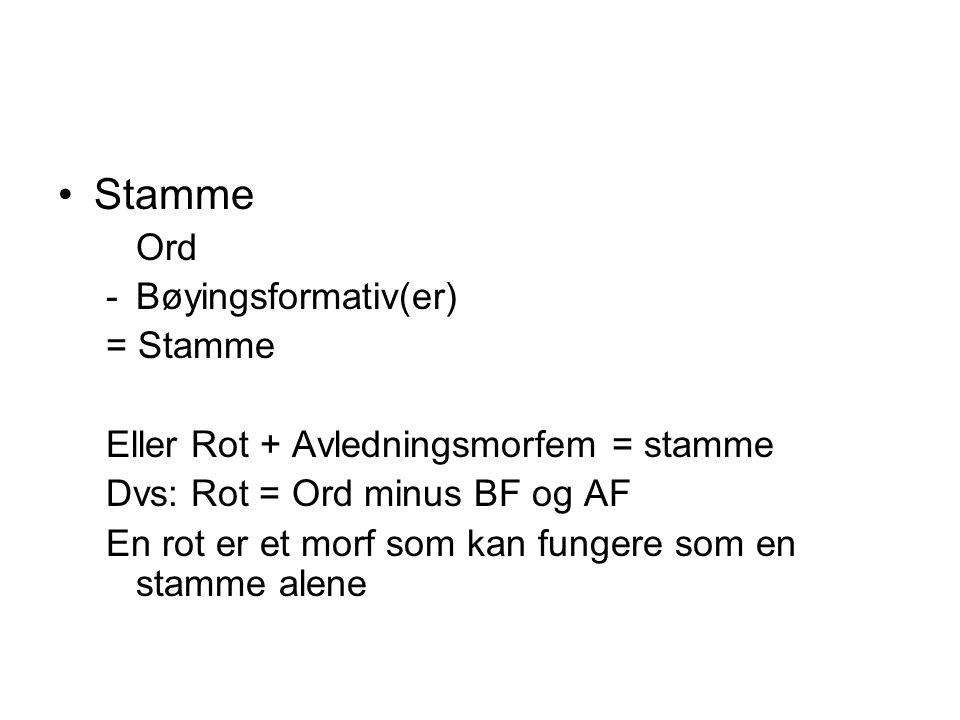 Stamme Ord -Bøyingsformativ(er) = Stamme Eller Rot + Avledningsmorfem = stamme Dvs: Rot = Ord minus BF og AF En rot er et morf som kan fungere som en
